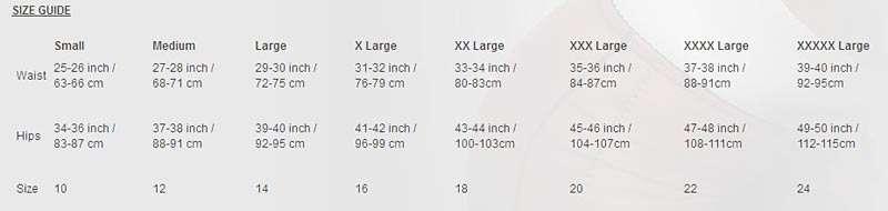 size guide for revival lingerie